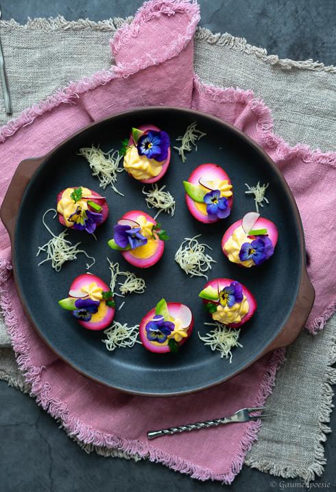 Gefüllte Rote-Bete-Eier - Deviled Eggs Rezeptbild