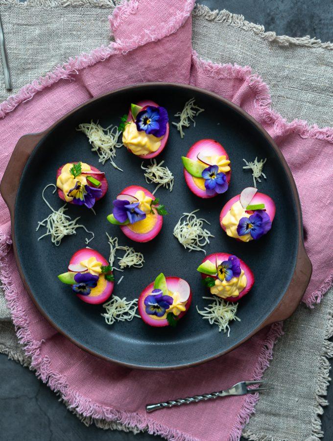 Gefüllte Rote-Bete-Eier - Deviled Eggs 1