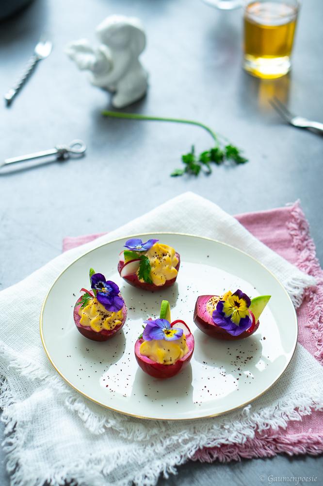 Gefüllte Rote-Bete-Eier - Deviled Eggs 2