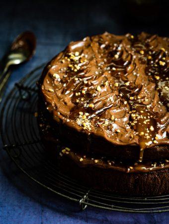 Schokoladen-Bananen-Kuchen mit Karamell 1