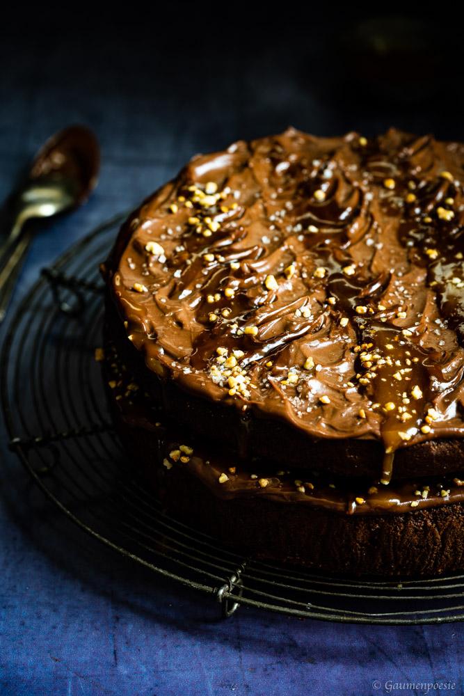 Schokoladen-Bananenkuchen mit Karamell 1